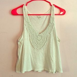 White low-V tank top with design